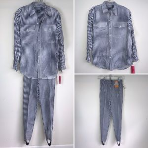 LizWear Blouse Pant Foot Strap Vintage Houndstooth